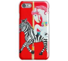 Horse and Zebra Carousel painting iPhone Case/Skin