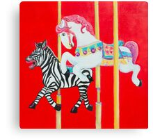 Horse and Zebra Carousel painting Canvas Print
