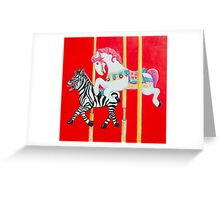 Horse and Zebra Carousel painting Greeting Card