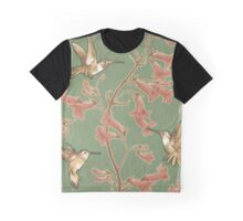 Hummingbirds and Penstemons on green background. Graphic T-Shirt