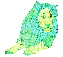 Green Lined Lion Photographic Print
