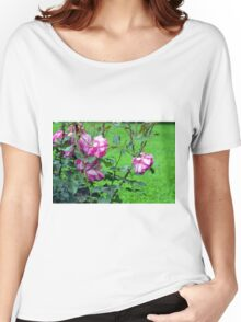 Pink roses in the garden. Women's Relaxed Fit T-Shirt