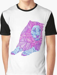 Purple Lined Lion Graphic T-Shirt