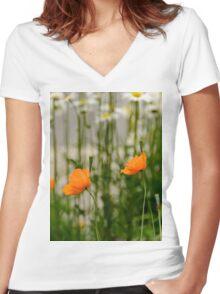 Field poppy  Women's Fitted V-Neck T-Shirt