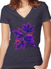 Leaves - Pink/Purple Women's Fitted V-Neck T-Shirt