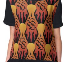SCORCH pattern [Black] Women's Chiffon Top