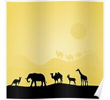 illustration of animals in Africa  Poster