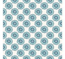 blue doodle floral seamless pattern Photographic Print