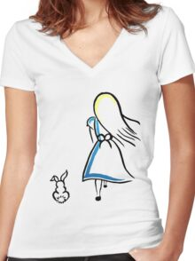 Alice and the White Rabbit Women's Fitted V-Neck T-Shirt