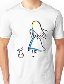 Alice and the White Rabbit Unisex T-Shirt