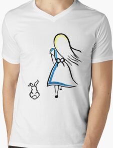 Alice and the White Rabbit Mens V-Neck T-Shirt