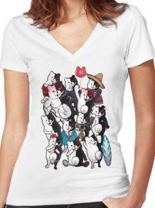 Monokuma portrait of wisdom Women's Fitted V-Neck T-Shirt
