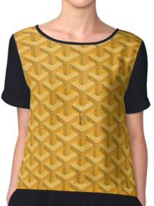 goyard yellow logo Chiffon Top