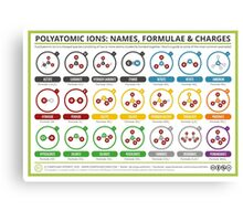 A Guide to Common Polyatomic Ions – Colour Version Canvas Print