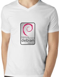 Powered by DEBIAN ! Mens V-Neck T-Shirt