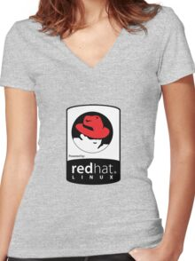 Powered by REDhat ! Women's Fitted V-Neck T-Shirt