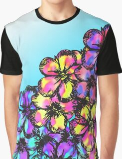 Beautiful Bright Neon Tie Dye Painted Flowers Graphic T-Shirt