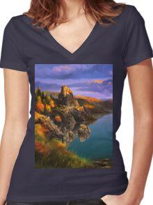 Baycal Lake Landscape Women's Fitted V-Neck T-Shirt