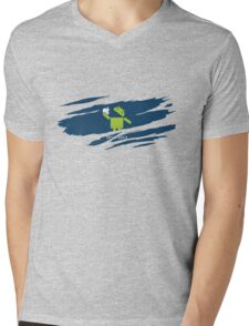 ANDROID EATS APPLE ! Mens V-Neck T-Shirt