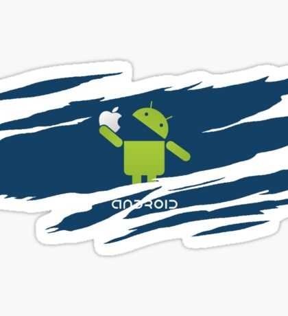 ANDROID EATS APPLE ! Sticker