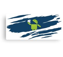 ANDROID EATS APPLE ! Canvas Print