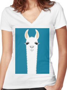 LLAMA PORTRAIT #10 Women's Fitted V-Neck T-Shirt