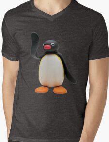 Pingu Waving Design Mens V-Neck T-Shirt