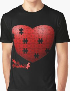 Puzzle Heart in pieces, missing some pieces to complete Graphic T-Shirt