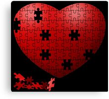 Puzzle Heart in pieces, missing some pieces to complete Canvas Print