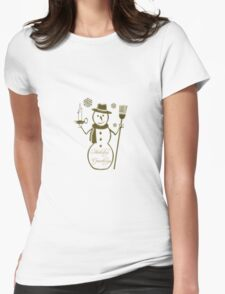 Gold Snowman Holiday Greetings  Womens Fitted T-Shirt