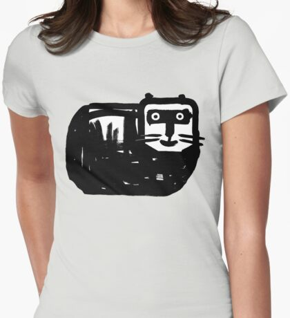 Dicke schwarze Katze Womens Fitted T-Shirt