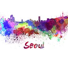 Seoul skyline in watercolor by paulrommer