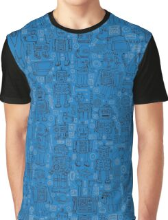Robot pattern - Blue Graphic T-Shirt