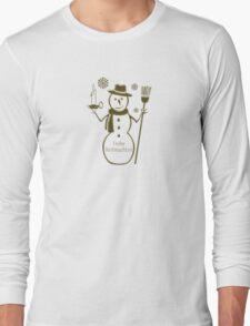 Gold Snowman German Merry Christmas Frohe Weihnachten Long Sleeve T-Shirt