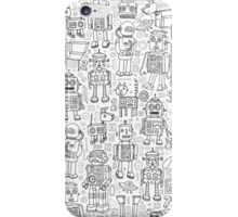 Robot pattern - black and white iPhone Case/Skin