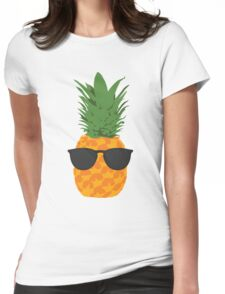 Cool Pineapple With Sunglasses Womens Fitted T-Shirt
