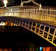 Ha'Penny Bridge At Night Sticker