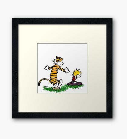 calvin hobbes jump Framed Print