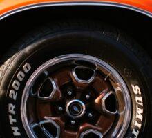Orange Chevy Nova coupe left side front wheel Sticker