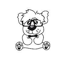 nerd geek smart hornbrille clever fly cool young comic cartoon teddy bear Photographic Print