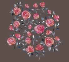 Roses on White - a watercolor floral pattern One Piece - Short Sleeve