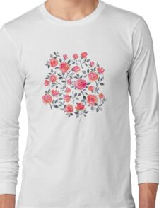 Roses on White - a watercolor floral pattern Long Sleeve T-Shirt