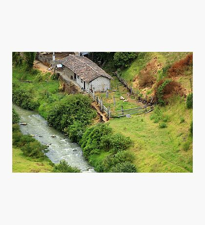 Farmyard Next to a River Photographic Print