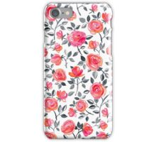 Roses on White - a watercolor floral pattern iPhone Case/Skin