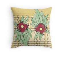 growing flowers on concrete Throw Pillow