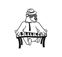 music, piano, keyboard party ribbon bass buttons play dance hat cool club concert hardrock heavy metal teddy bear Photographic Print