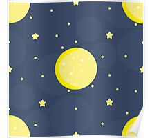Moon and stars on blue sky Poster