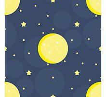 Moon and stars on blue sky Photographic Print