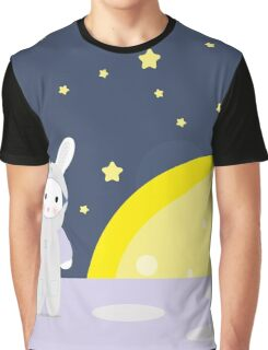 Funny bunny astounaut on the moon Graphic T-Shirt