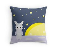Funny bunny astounaut on the moon Throw Pillow
